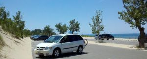 Parking against the sand dune at Jean Klock Park St. Joseph Michigan